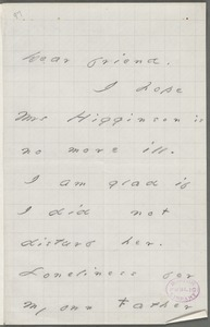 Your Scholar (Emily Dickinson), Amherst, Mass., autograph letter signed to Thomas Wentworth Higginson, August 1876