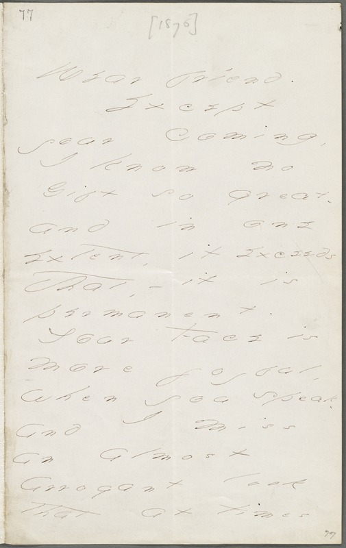 Your Scholar (Emily Dickinson), Amherst, Mass., autograph letter signed to Thomas Wentworth Higginson, late October 1876