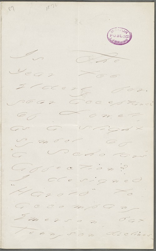 Emily Dickinson, Amherst, Mass., autograph letter to Thomas Wentworth Higginson, January 1877