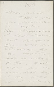Your Scholar (Emily Dickinson), Amherst, Mass., autograph letter signed to Thomas Wentworth Higginson, early 1877