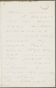 Emily Dickinson, Amherst, Mass., autograph letter to Mary Channing Higginson, early Spring 1877