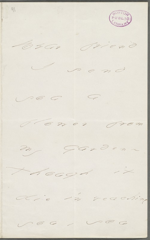 Emily Dickinson, Amherst, Mass., autograph note to Mary Channing Higginson, Summer 1877
