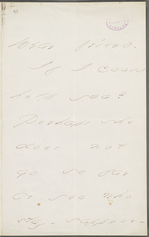 Emily Dickinson, Amherst, Mass., autograph note to Thomas Wentworth Higginson, September 1877