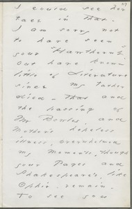 Emily Dickinson, Amherst, Mass., autograph letter fragment to Thomas Wentworth Higginson, February 1879