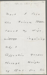 Emily Dickinson, Amherst, Mass., autograph note to Thomas Wentworth Higginson, about 1879