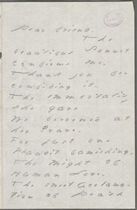 Your Scholar (Emily Dickinson), Amherst, Mass., autograph letter signed to Thomas Wentworth Higginson, late April 1886