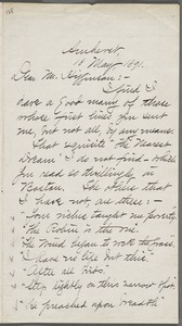 Mabel Loomis Todd, Amherst, Mass., autograph letter signed to Thomas Wentworth Higginson, 18 May 1891