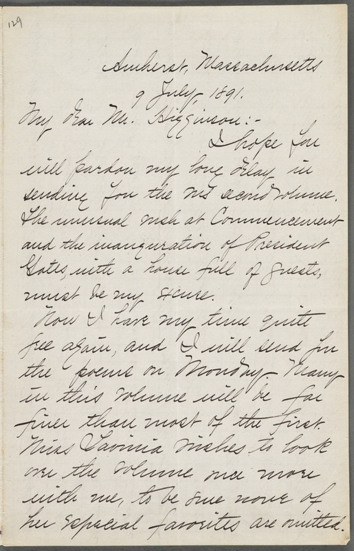 Mabel Loomis Todd, Amherst, Mass., autograph letter signed to Thomas Wentworth Higginson, 9 July 1891