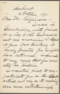 Mabel Loomis Todd, Amherst, Mass., autograph letter signed to Thomas Wentworth Higginson, 6 October 1891