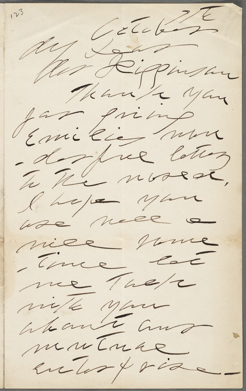 Lavinia Norcross Dickinson, Amherst, Mass., autograph letter signed to Thomas Wentworth Higginson, 7 October 1891