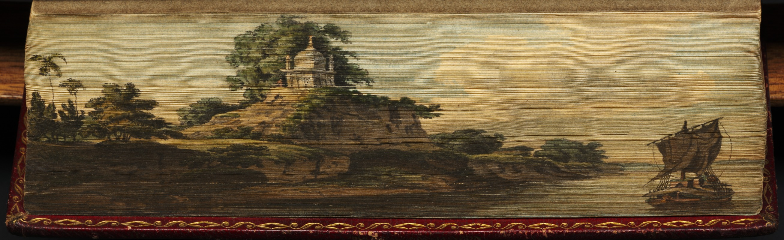 Indian river scene with Hindu temple