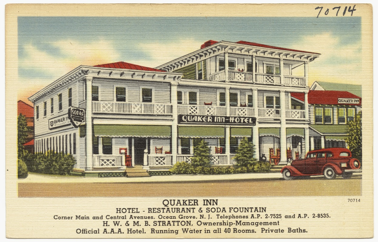 Quaker Inn Hotel Restaurant Soda Fountain Corner Main And Central Avenues Ocean Grove N J