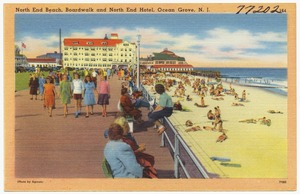 North end beach, boardwalk and north end hotel, Ocean Grove, N. J.