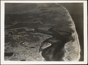 Pleasant Bay, Chatham Mass former naval air station site in left corner-town of Chatham on lower left