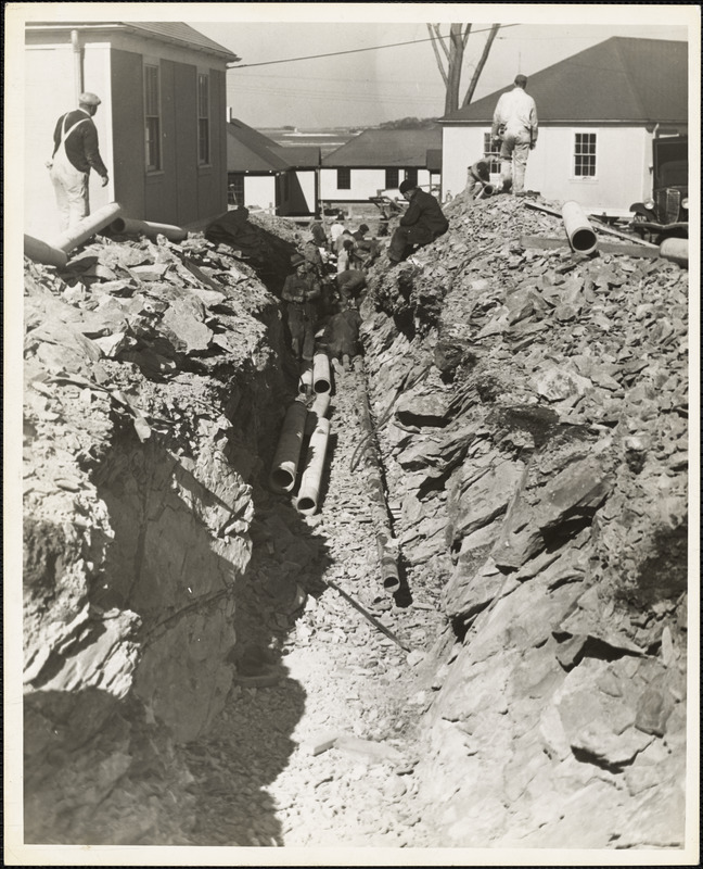 Trench showing ledge at Base Housing Project