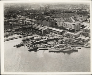 Aerial view Dry Dock #5 USS CONSTITUTION at pier Shipways #1 Degaussing Station