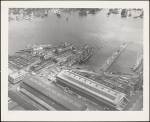 Dry Dock #5 - USS CONSTITUTION at pier-structural building #104 Main yard