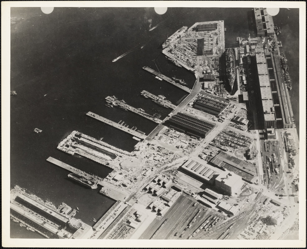 Aerial view of US Naval Dry Dock, South Boston showing development of facilities.  HMS QUEEN MARY in Dry Dock #3