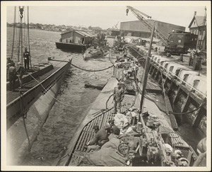 Four German submarines which surrendered to DE's off Portland