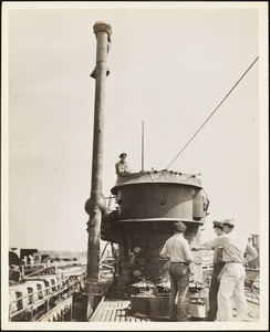 """Captured German sub is shown with """"Schnorkle"""" pipe fully elevated"""