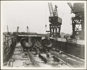 Laying first keels of US submarines in new submarine basin