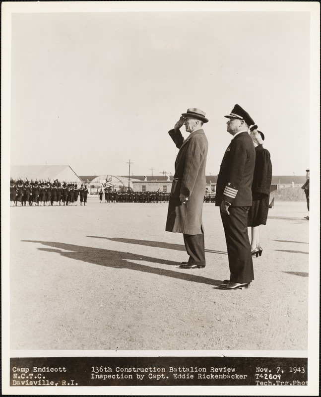 136th Construction Battalion Review Inspection by Capt. Eddie Rickenbacker
