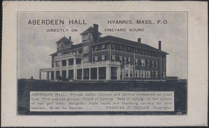Aberdeen Hall, Frances P. Yeager, proprietor