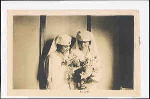 Two World War I Red Cross volunteers, with Mary L. (Kane) Johnson on the right