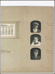 1912 calendar with photos of Morris I. Johnson, Frances Johnson, and Robert C. Johnson