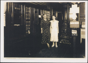 Abigail Johnson, at left, postmistress of West Yarmouth Post Office