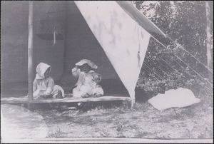 Eleanor and Hinkley Knowles at camp site on Quake Island, Shallow Pond, Barnstable, Mass.