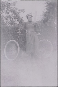 Caroline (Thacher) Harris with bicycle