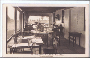 Outdoor dining area of Old Thacher Place, 162 Old King's Highway, Yarmouth Port, Mass.