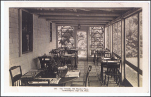 The veranda at Old Thacher Place, 162 Old King's Highway, Yarmouth Port, Mass.