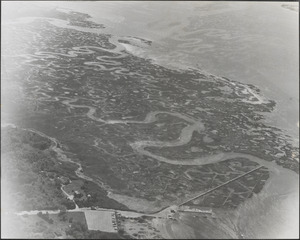 Aerial view of Bass Hole and marshes, Yarmouth Port, Mass.