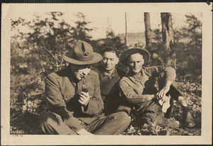 Albert Chase with two friends in uniform, World War I
