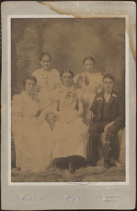 Graduation class of 1900, Yarmouth High School, Ester (Baker) Bliss, first row on left