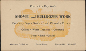 Advertising postcard for Warren C. Baker, Bass River, shovel and building work