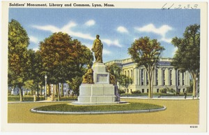 Soldiers' Monument, Library and common, Lynn, Mass.