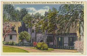 Entrance to Dawson Hall Tea Room at David S. Lynch Memorial Park, Beverly, Mass.