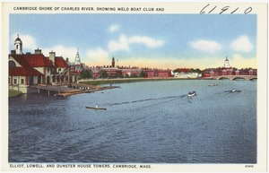 Cambridge Shore of Charles River, showing Weld Boat Club and Elliot, Lowell, and Dunster House Towers, Cambridge, Mass.
