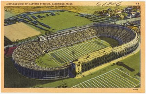 Airplane view of Harvard Stadium, Cambridge, Mass.