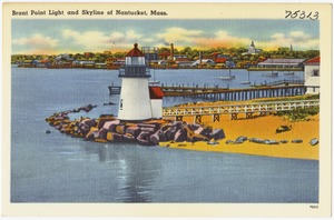 Brant Point Light and Skyline of Nantucket, Mass.