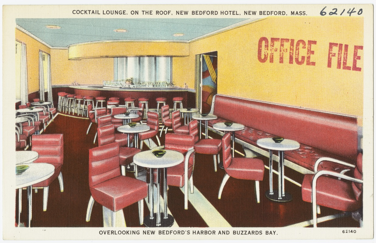 Cocktail Lounge, on the roof, New Bedford Hotel, New Bedford, Mass., overlooking New Bedford's Harbor and Buzzards Bay.