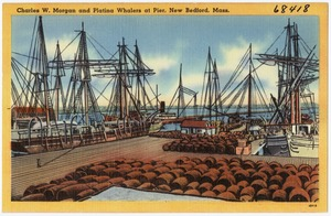 Charles W. Morgan and Platina Whalers at pier, New Bedford, Mass.
