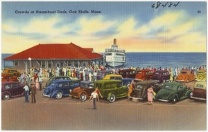 Crowds at Steamboat Dock, Oak Bluffs, Mass.