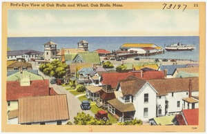 Bird's-eye view of Oak Bluffs and Wharf, Oak Bluffs, Mass.