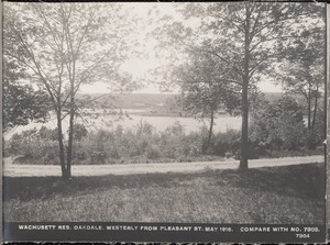 Wachusett Department, Wachusett Reservoir, westerly from Pleasant Street (compare with No. 7303), Oakdale, West Boylston, Mass., May 1, 1916
