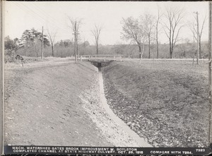Wachusett Department, Wachusett Watershed, Gates Brook Improvement, completed channel at State Highway culvert (compare with No. 7254), West Boylston, Mass., Oct. 26, 1916