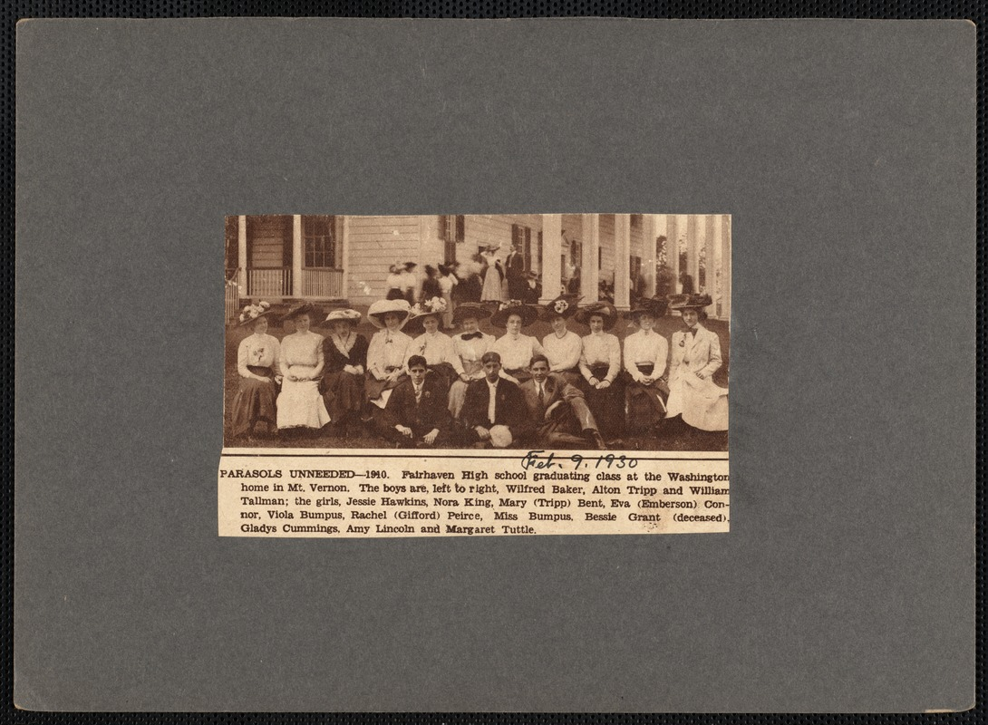 Fairhaven High School, Massachusetts, graduating class of 1910 at the Virginia home of George Washington, Mount Vernon